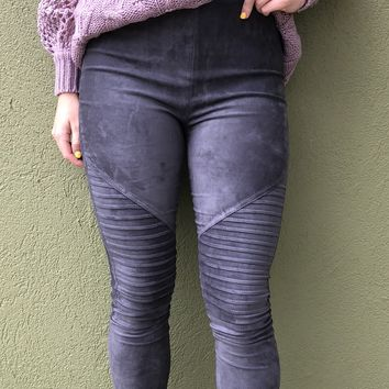 Adriana Moto Leggings -Grey