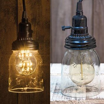 Mason Jar Hanging Lamp with cord