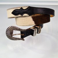 Nocona S445 Belt Black White Hair On Hide Leather Rancher Rodeo Western Unisex