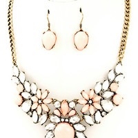 Pink Teardrop & Flower Necklace Set