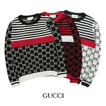 GUCCI 2018 autumn and winter color matching striped jacquard sweater