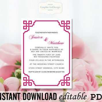 Editable PDF Raspberry Pink Vintage Calligraphy Wedding Invitation Template Printable - Editable PDF Text (Fonts, Colors, Size)