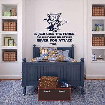 Star Wars Wall Decal Quote A Jedi Uses The Force Yoda Quotes - Wall Decal Star Wars Kids Room Decor, Yoda Wall Decal Sayings Children K167