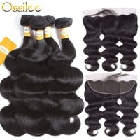 Ossilee Lace Frontal Closure With Bundles Brazilian Body Wave Human Hair Bundles With Closure Remy Hair Frontal with Bundles