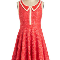 ModCloth Vintage Inspired Mid-length Sleeveless A-line 500 Days of Shimmer Dress in Coral