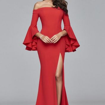 Faviana Glamour S8002 Ruffle Off the Shoulder Gown