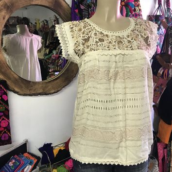 Mexican Oaxaca Cream Blouse with Gold Embroidery