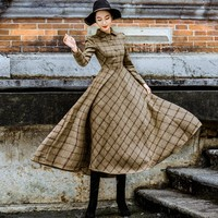 Modest Vintage Stylish Plaid Wool Dress
