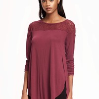 Relaxed Tulip-Hem Lace Top for Women | Old Navy