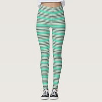 Trendy Mint and Grey Candy Stripes Pattern Leggings