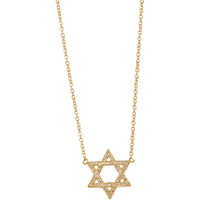 Gold & Diamond Mini Star of David Pendant Necklace