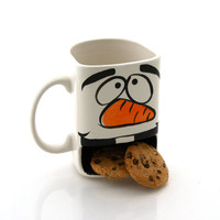 Snowman cookie dunk mug, Christmas mug, winter, hot chocolate, biscuit mug