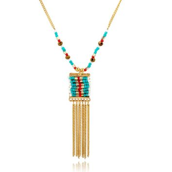 Szelam Gold Color Necklaces  Multicolor Beads Long Tassel Necklaces Pendants Collares Mujer  Jewelry SNE150882