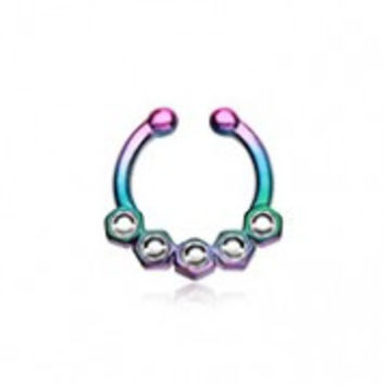 Colorline Hexa Gemina Sparkle Fake Septum Clip-On Ring