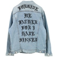 ADAPTATION FORGIVE ME JEAN JACKET x THE CHAIN / MEDIUM WORN