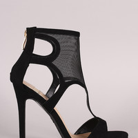 Suede Cutout Mesh Cuff Open Toe Stiletto Heel