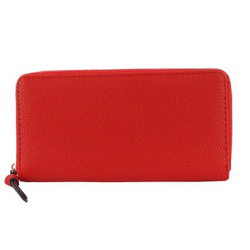 Red Faux Leather Clutch Wallet Bag Accessory