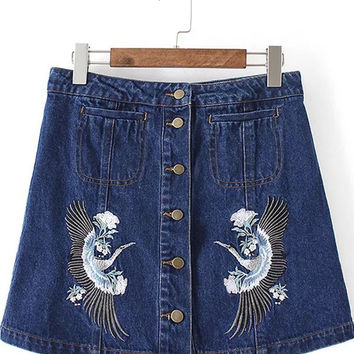 Blue Embroidered Single Breasted Denim Skirt