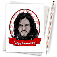 Anniversary Card - Game Of Thrones Card - Jon Snow - Winter Is Coming - Funny Card - Boyfriend Card - Funny Love Card - Card For Boyfriend