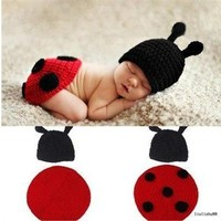 Joy Baby Infant Costume Ladybug Costume Handmade Crochet Knit Photo Prop