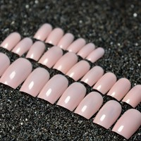 Shiny Candy Flat False Nails Natural Pink Fake Nail Tips Long Acrylic Full Nail Tips Manicure Nails 24Pcs P15M