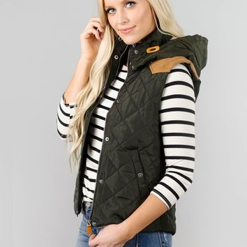 Padded Vest with Fur & Suede Detail