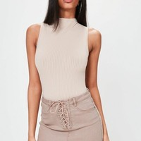 Missguided - Camel Lace Up Stretch Denim Mini Skirt