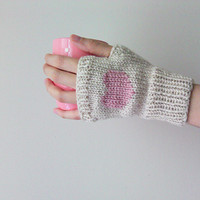 Hand Knit Fingerless Gloves in Mushroom Beige - Pinkish Powder Embroidered Heart - Seamless - Wool Blend