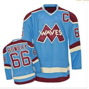 throwback ice hockey jersey#66 Gordon Bombay VERY RARE NO RESERVE Gordon Bombay Gunner Stahl Mighty Ducks Waves Hockey Jersey Any Name and A