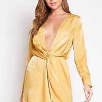 Satin Nights Mini Dress in Mustard
