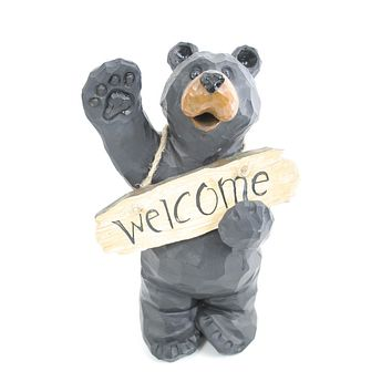 Waving Bear with Welcome Sign