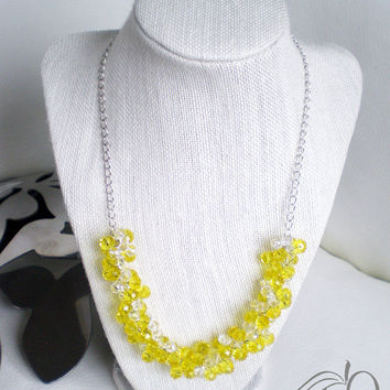 Yellow and Clear Beaded Necklace  Bridesmaid Necklace  Statement Necklace  Wedding Jewelry  Variety of Colors Available for Customization