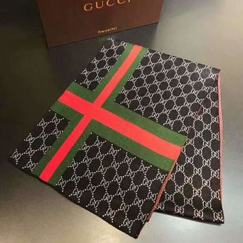 GUCCI Tide brand autumn and winter wild men and women models warm cashmere long scarf black