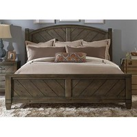 Liberty Furniture Modern Country Poster Bed in Smokey Pewter Finish