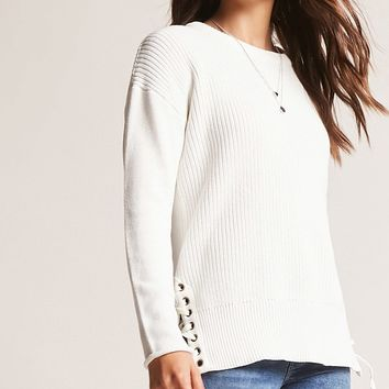 Lace-Up Hem Sweater