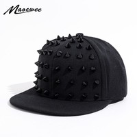 Trendy Winter Jacket Unisex Punk Hedgehog Hat Personality Jazz Snapback Spike Studded Rivet Spiky Baseball Cap for Hip Hop Rock Dance Bons Dad hats AT_92_12