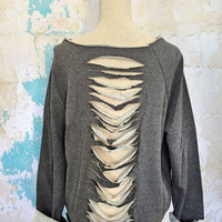Slashed Sweatshirt Off the Shoulder Baggy Favorite Sweatshirt with Tattered Back Raw Hems Women's Repurposed Clothing Gray Love SIZE SMALL