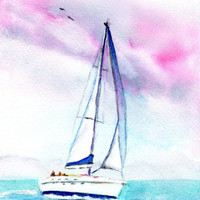 "ORIGINAL Watercolor Sailboat Painting, 5x7 inch, 8x10"" matted, Tropical, Summer, Sunset, Sailing, Sailors Delight"