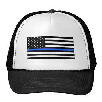 Support the Police Thin Blue Line American Flag Trucker Hat