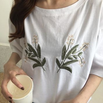 White Flower Embroidered Tee