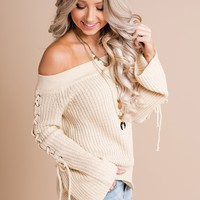 Turning Point Lace Up Sweater (Natural)