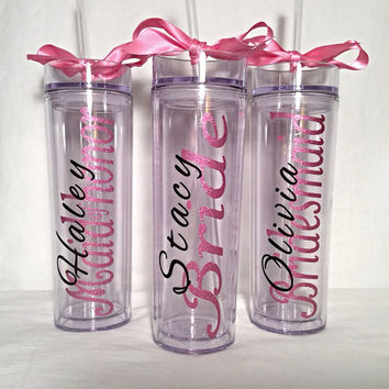 8 Bridesmaid skinny tumbler with glitter vinyl gift set wedding party gift acrylic tumbler cups