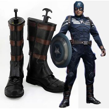 Captain America Cosplay Shoes Boots For Halloween Carnival