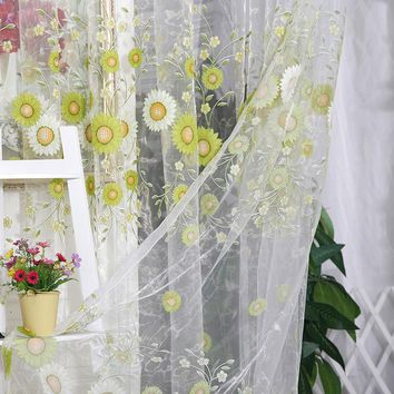 Sunflower Pattern Room Sunflower Tulle Voile Window Curtain Panel Sheer Drape Scarf New