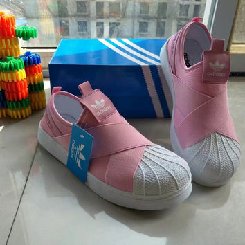 """Adidas"" Fashion Casual Crisscross Bandage Cloth Stitching Shell Head Sneakers Women Canvas Plate Shoes"