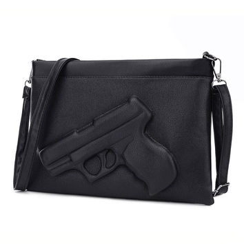 Fashion Women Shoulder Crossbody Bag 3d Gun Handbags Clutch Pu Leather Pistol Bags Ladies Messenger Bag Envelope Tote