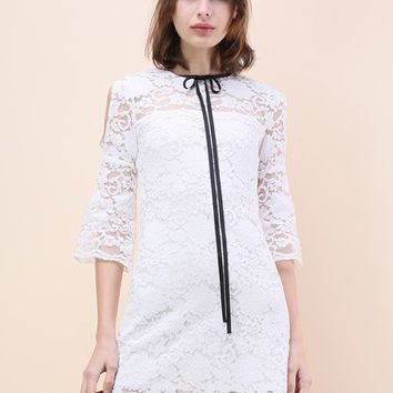 Pure Romance Full Lace Cold-shoulder Shift Dress in White