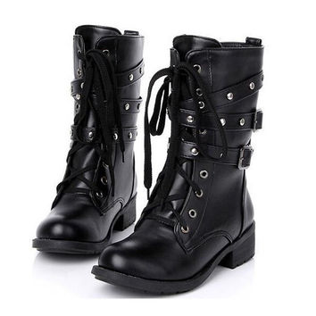 Women Spring Autumn Biker Leather Fashion Motorcycle Boots Ladies Vintage Rivet Combat Army Punk Goth Ankle Shoes