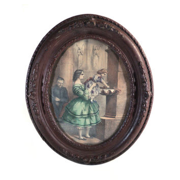 French Oval Wood Framed Print, Lithography Offset, High Society Mother and Daugther Religious Scene