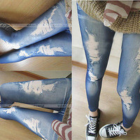 Women Denim Hole Legging